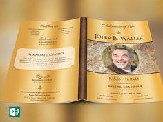 """Solid Gold Funeral Program Publisher Template is created in Microsoft Publisher for a modern memorial or home going service. It's gold decals and text style laid over a purple paisley background will honor and dignify your loved ones. A great keepsake program. This template is a Microsoft Publisher template designed by Godserv to be edited with Microsoft Publisher 7 and higher. Once you have downloaded this template, use Microsoft Publisher to make edits.  WHATS INCLUDED - 1– 11x8.5"""" Solid…"""