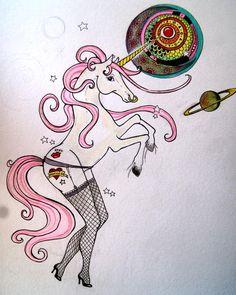 Sexy unicorn -drawing-Tattoo idea-funny weird odd unique unicorn