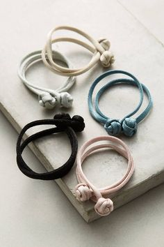 Anthropologie Knotted Satin Hair Tie Set