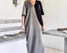 NEW Winter Print Maxi Dress Kaftan / Winter Warm Long Dress / Plus Size Loose Dress / #35242
