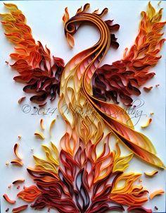 """Rising Phoenix"" - Original Artwork by artist Stacy Lash Bettenourt, owner of Mainely Quilling - Extreme Quilled Phoenix: Créations en Papier Arte Quilling, Paper Quilling Patterns, Origami And Quilling, Quilled Paper Art, Quilling Paper Craft, Origami Paper, Paper Crafts, Quilling Ideas, Quilling Animals"