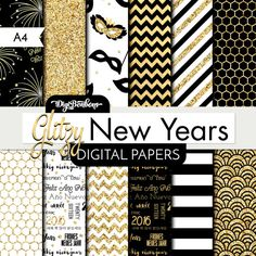 This glitzy New Years Scrapbook Digital Paper set is sparkly, pretty, festive, and printable! In A4 paper size, use in traditional scrapbooking,