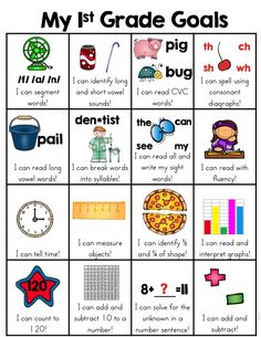 First Grade Goals Skill Sheet Grade Common Core Standards Overview) This skill goal sheet that is a fun and very visual way for the kids to see what first grade skills they have mastered. When a skill has been mastered, the child can put a sticker in Teaching First Grade, First Grade Reading, First Grade Classroom, 1st Grade Math, Grade 1, Second Grade, First Grade Curriculum, First Grade Schedule, First Grade Assessment