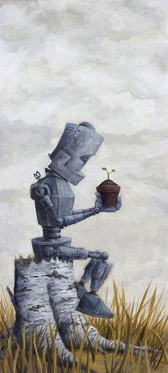 Sprout-Bot by Lauren Briere Robot Painting, Painting Prints, Fine Art Prints, Painting Art, Matt Dixon, Neon Noir, Arte Robot, Vincent Van Gogh, Matte Painting