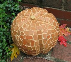 Broken Terra Cotta Pot Mosaic Styrofoam Pumpkin Submitted by  Sharon at Crafts 'N Coffee
