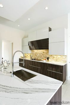 Kitchen countertops offer a soothing vibe. #housetrends