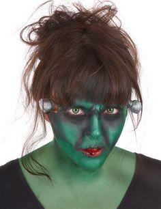 Kit maquillaje monstruo verde con lentillas adulto: Este set de maquillaje de monstruo verde es para adulto.Incluye tubo de látex, sangre falsa, paleta de maquillaje con aplicador (colores: blanco, verde, rojo y negro), prótesis de...