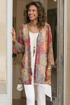 Paisleys and florals float on a tea-stained background with pops of red and pink in this softer-than-soft crinkled chiffon cardi. Shimmering red and silver sequins and seed be
