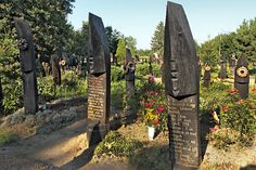 Boat-shaped gravestones of Szatmarcseke in far eastern Hungary are found nowhere else in the world, Northern Great Plain. Compare with the wooden vertical boats with burial site in the Tarim Basin, China. Cemetery Headstones, Globe Travel, Graveyards, European Countries, City Break, Antiquities, Oh The Places You'll Go, Luxury Travel, Monuments