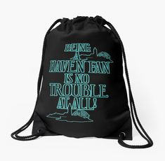 'Haven Fan Blue Glow Text' Drawstring Bag by HavenDesign Backpack Bags, Drawstring Backpack, Tote Bag, My Boutique, Pouches, Woven Fabric, Glow, Backpacks