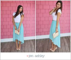How to wear hi-low skirt, nude heels, mint, Styled Session | The Mint Hi-Low Skirt jen + ashley photography