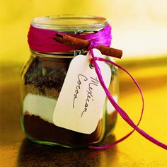 """Mexican Cocoa Mix    Layer the ingredients for homemade cocoa in a jar, add a ribbon and a tag, and you have a simple but stylish gift. On the back of the tag, write: """"Mix contents in a large bowl. For each serving, place 1/3 cup cocoa mix in a mug and stir in 1 cup boiling water. Store remaining mix in airtight container.""""    Yield: Makes 1 quart mix or 12 servings hot cocoa  Ingr..."""