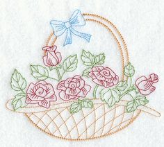 Vintage Embroidery Patterns | rose basket design is inspired by 1940s vintage embroidery patterns ...