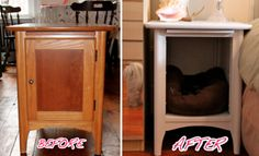 Diy dog kennel table night stands Ideas for 2019 Diy Dog Kennel, Diy Dog Bed, Cool Dog Beds, Furniture Projects, Diy Furniture, Crate Nightstand, Nightstand Ideas, Bedside Tables, Old End Tables