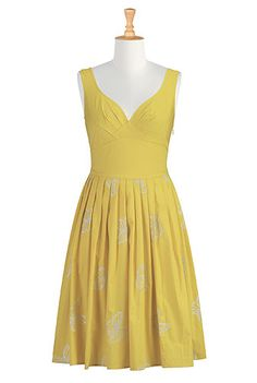 I love the silhouette, that color isn't the greatest on me though.  #eShakti, Butterfly, Dresses, Poplin Dress, Sunset Gold Yellow Dress, Yellow, Sunset, Yellow Dress, Sunkissed, Pretty Dress, Bridesmaids Dress, Embroidered Dresses