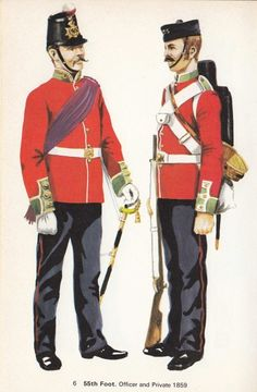 British Foot Officer and Private British Army Uniform, British Uniforms, Military Art, Military History, Military Uniforms, French Foreign Legion, British History, Napoleon, Victorian Era