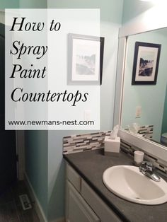 For our guest bathroom, I wanted an inexpensive upgrade that would completely change the current countertops, so I had begun the online search of methods to fill this. I found a tutorial on Pinter… (Diy Bathroom Cheap) Spray Paint Countertops, Painting Countertops, Countertop Redo, Diy Bathroom Countertops, Bathroom Counter Paint, White Bathroom, Modern Bathroom, Bathroom Cabinets, Glitter Paint Backsplash