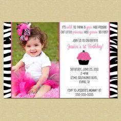 Zebra Print Cupcake Birthday Invite $10.00