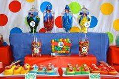 levels - rainbow elmo sesame street birthday party dessert buffet table
