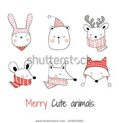 Find Drawn Vector Collection Head Happy Animals stock images in HD and millions of other royalty-free stock photos, illustrations and vectors in the Shutterstock collection. Thousands of new, high-quality pictures added every day. Christmas Tree With Gifts, Merry Christmas Card, Christmas Art, Christmas Ornaments, Xmas, Christmas Doodles, Christmas Drawing, Illustration Inspiration, Cute Illustration