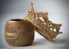 Corona de ganchillo para bebé recién nacido fotografía Prop Foto Prop Princesa Príncipe De Oro