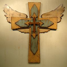 LARGE Rustic Wooden Cross and Angel Wings: Faith Cross, Handmade wood cross, Painted wooden cross, Cross wall, Angel Wings Crosses