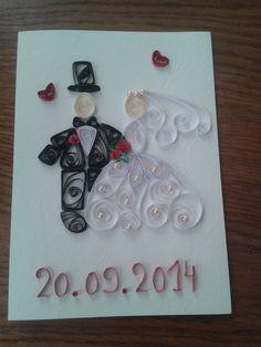 kartka ślubna quilling