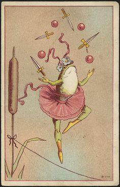 a tightrope-walking frog juggling swords and balls