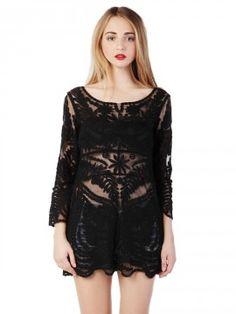 Shop Black Crochet Lace Long Sleeve Dress with Mesh Panel