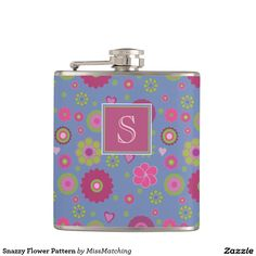 Snazzy Flower Personalized Patterned Hip Flask