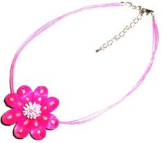 Tribe Bright Pink Leather Stitched Flower Necklace - Gifts for Mom Tribe leather. $14.00. Other colors available