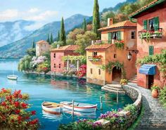 Sung Kim Villagio dal Lago painting for sale, this painting is available as handmade reproduction. Shop for Sung Kim Villagio dal Lago painting and frame at a discount of off. Your Paintings, Beautiful Paintings, Landscape Paintings, Wall Paintings, Seascape Paintings, Belle Image Nature, Lakeside Village, Paint By Number Kits, Beautiful Places