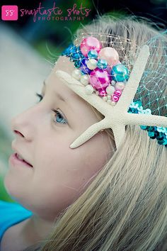 Star Fish Girls HeadBand with Colorful Pearl by PoshPeanutKids, $28.00