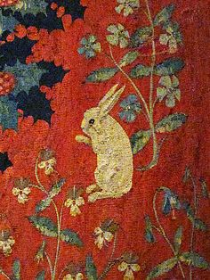 Detail: The Lady and the Unicorn ..... Tapestry on view at the Cluny Museum in Paris.