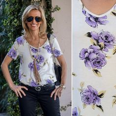 Loving our Purple Rose Print Tshirt paired with the perfect Faux Leather and Bead Necklace - Both featured on my blog this week and available in our shop www.jacketsociety.com