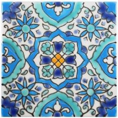 Islamic inspiration abounds in this hand-painted tile.