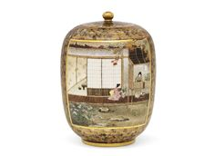 A Finely Detailed Satsuma Vase with a Scene of Women Preparing for the Tea Ceremony.signed Kinkozan.