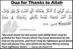 Duas fot Thanking Allah SWT
