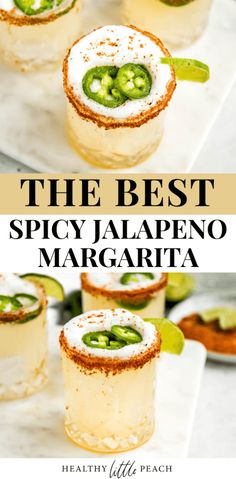 The perfect spicy Jalapeno Margarita that is great for any occasion. This drink is filled with tequila, lime and orange juice, monk fruit sweetener, jalapenos slices and rimmed with Tajin seasoning. It is the perfect balance of savory and sweet. Spicy Drinks, Healthy Cocktails, Tequila Drinks, Yummy Drinks, Sweet Cocktails, Summer Cocktails, Spicy Margarita Recipe, Margarita Recipes, Cocktail Recipes