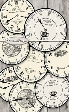 8 large vintage inspired clock images, each 7.5 diameter: 4 different clocks with handles and 4 without handles. You can use these to print on fabric transfers, for decoupage, for scrapbooking, for making actual clocks etc.  What you actually want to know: ° 8 high quality (300 dpi) 7.5 x 7.5 digital images on eight 8.5 x 11 sheets for easy printing ° in zip folders: you need unzipping software for this ° JPG and PDF  The same images small (2.5 inch)…