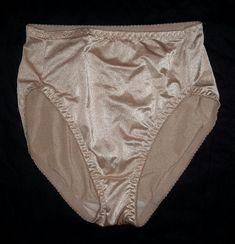 36541058a34b Vintage Shiny Nylon Spandex Hi Cut Legs Panties Lt Beige M 36