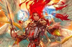 art angel man sword wings crystal red Canvas Wall Poster