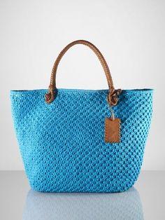 f77aec8b720a Blue Polo Ralph Lauren crochet bag Crochet Tote