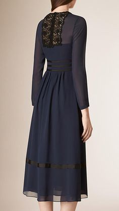 Navy Lace Trim Silk Empire Line Dress - Image 2