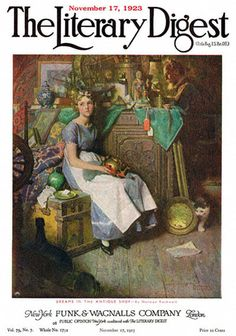 Dreams in the Antique Shop or Woman Daydreaming in Attic ~ Norman Rockwell (November 17, 1923 issue of The Literary Digest)