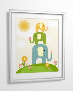 Kids art, nursery wall art, nursery art, baby nursery art, Elephant, 8x10 PRINTABLE. $4.00, via Etsy.