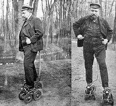 1906. French inventor M. Constantini demonstrating his motorized skates with tiny gasoline engines at Paris Automobile Show.  #France #Paris #skate #motor #engine #engineering #inventor #invention #wow #hipster #badass #historyinpictures #historicalpix by historicalpix
