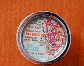Personalized Map Drawer./Cabinet Door  knob - Customized with your special city.. $9.95, via Etsy.