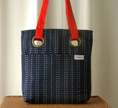 Navy Blue Tote with White Dotted Line  Red Handles by LeLaStudio