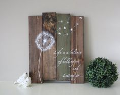 Some see a weed  Dandelion wall art  Rustic home by TinHatDesigns